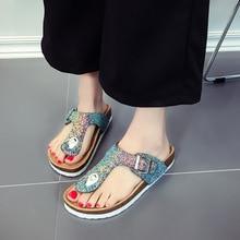 Summer Glitter Beach Cork Slippers Sandals Double Buckle Clogs sequins Sandalias Women Slip on Flip Flops Flats Shoes Plus Size