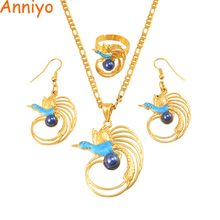 Anniyo PNG Bird With Blue Pearl Necklace Earrings Ring Sets for Women Gold Color Papua New Guinea Party Jewelry Style #156306(China)