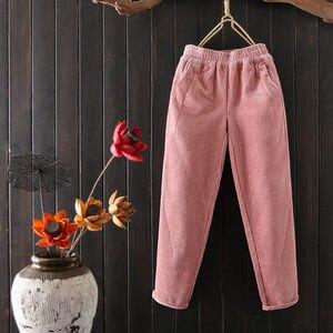 Image 4 - Женские вельветовые брюки, повседневные шаровары большого размера 3XL с эластичным поясом, на осень и зиму, C4856