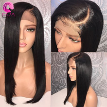 Eva 130 Full Lace Human Hair Wigs With Baby Hair Brazilian Remy Hair Full Lace Wigs For Women Bleached Knots Natural Black Color(China)
