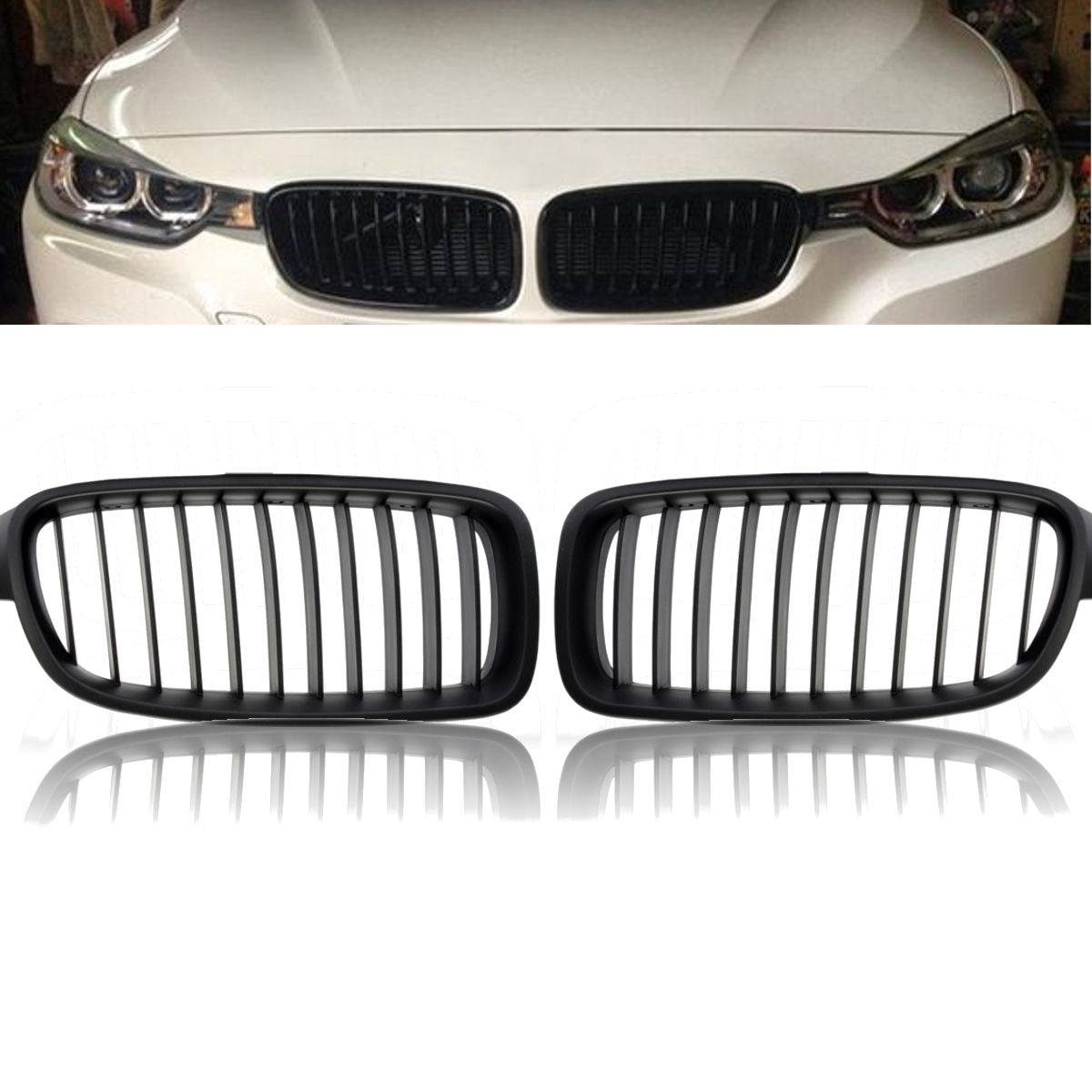 2Pcs/Pair Matte Black Car Front Kidney Grilles Grills For BMW F30 F31 F35 3Seires 320i 328i 2012 2013 2014 2015 2016 2017 1 pair gloss black front kidney grilles grill car styling racing grills replacement grilles for bmw f30 f31 f35 320i 2012