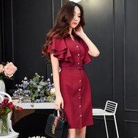 Dabuwawa Burgundy Red High Waist Vintage Ruffle Sleeve Lady Bodycon Dress 2018 Elegant Retro Party Dresses New 2018 female belt