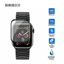 ROROBICO 3D Curved Edge Tempered Glass Protective Film For Apple Watch 4 3 2 1 38MM 42MM 40MM 44MM Screen Protector 3d curved soft edge tempered glass screen protective film for apple watch band series 1 2 3 38mm 42mm screen protector cover