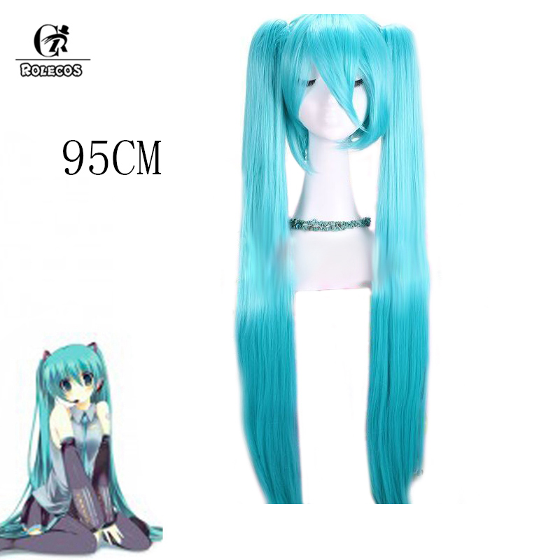 Cosplay wig for Vocaloid Miku light blue cos