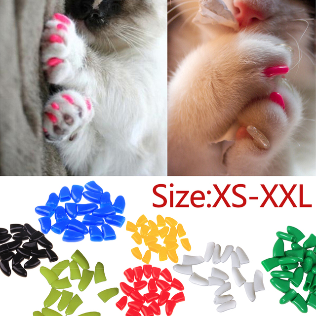 20pcs/lot Soft Pet Nail Covers Cat Nail Caps Pet Claw Paws Cover Caps With Free Glue and Applicator Protection Pet Accessories
