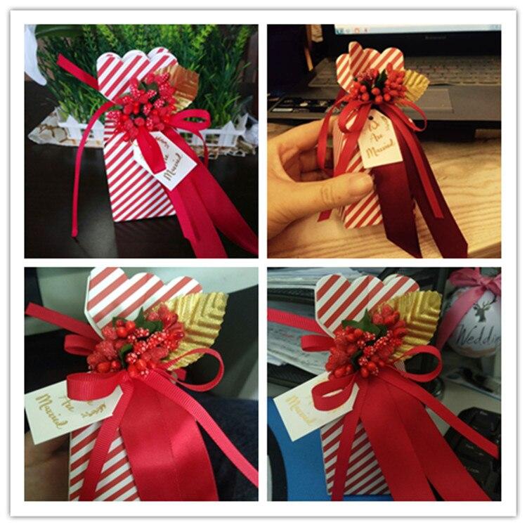 2017 Nuevas Cajas de Caramelos de Papel Rayado Rojo y Blanco - Para fiestas y celebraciones - foto 5