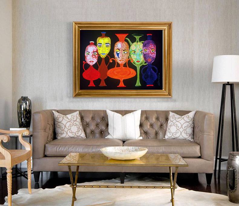 Abstract canvas painting mural prints posters modern decorative picture cartoon picture abstract portrait picture humans girls