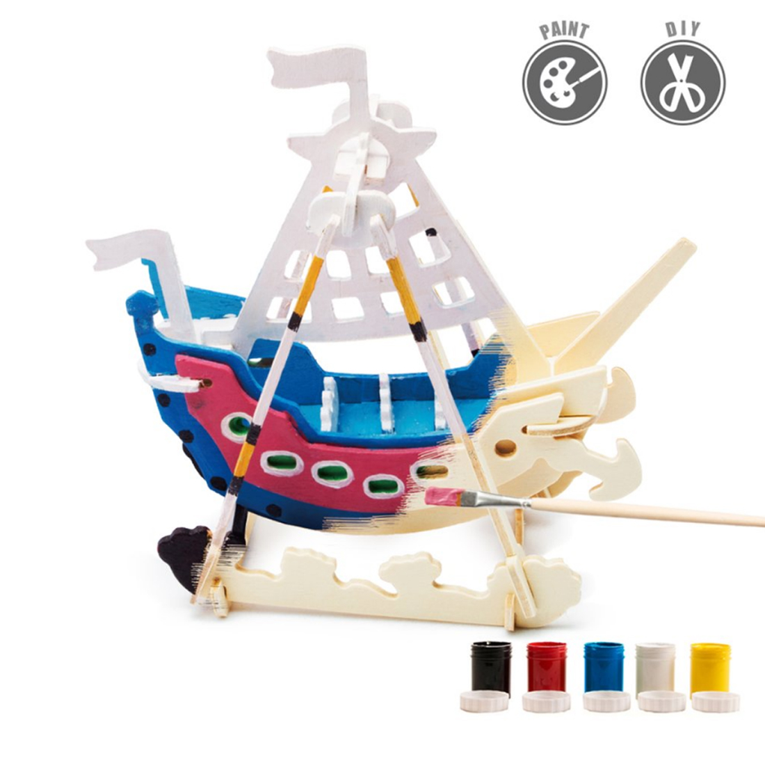 Toys & Hobbies Creative Swing Boat Shape 3d Painting Puzzle Diy Assemble Stem Toys With 5-color Pigment Kids Parent Interation Time