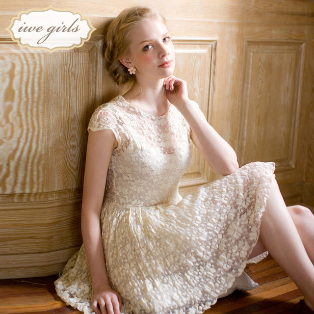 Small 2013 summer new arrival swan lake vintage roll-up pleated hem elastic lace one-piece dress twinset