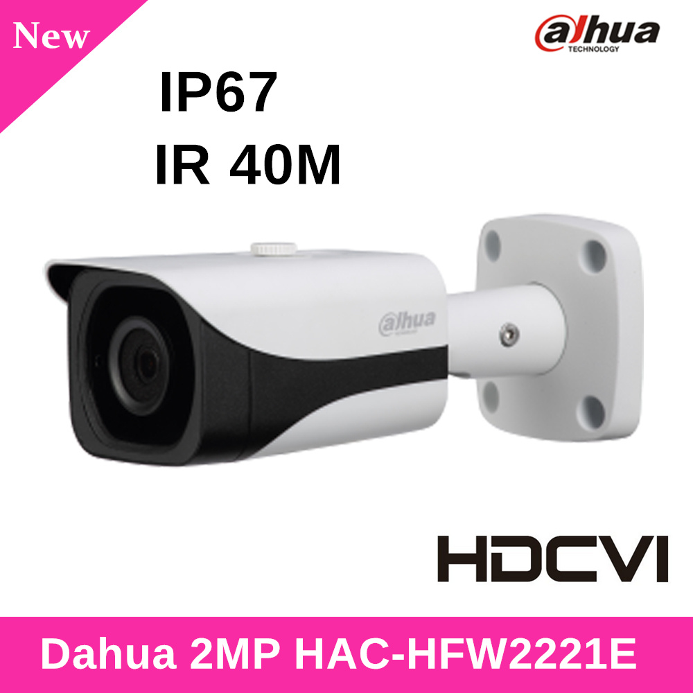 Dahua 2MP Security Camera HAC-HFW2221E WDR HDCVI IR Bullet Camera HD and SD dual-output IR 40m for Outdoor IP67 CCTV Camera dahua hdcvi 1080p bullet camera 1 2 72megapixel cmos 1080p ir 80m ip67 hac hfw1200d security camera dh hac hfw1200d camera