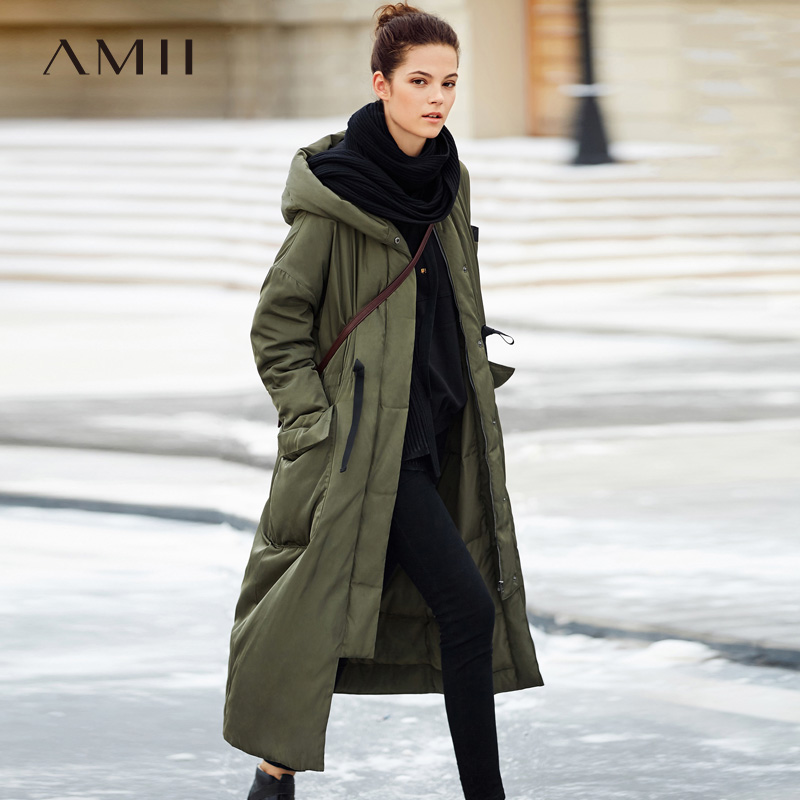 Amii Minimalist Women 2018 Winter Solid Losse Long Drawstring Hoodies Pocket 90% White Duck   Down     Coat