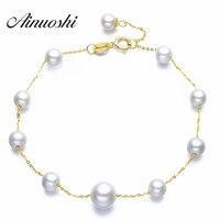 AINUOSHI 18 K Or Jaune Naturel de Culture D'eau Douce Perle Charme Bracelet Bracelets De Mariage Bijoux Femmes Chaîne En Or Lien Bracelet