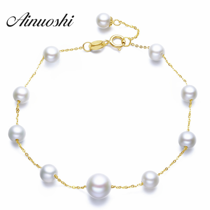 все цены на AINUOSHI 18K Yellow Gold Natural Cultured Freshwater Pearl Charm Bracelet Bangles Wedding Jewelry Women Gold Chain Link Bracelet онлайн