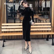 Autumn Winter Casual Black Dress Women O-neck Long Sleeve Vintage Velvet Dress Women Cloak Sleeve Midi Dress Vestido Plus Size недорого