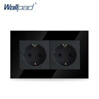 Wallpad 럭셔리 더블 16A EU 소켓 블랙 크리스탈 유리 전기 더블 16A 유럽 벽 소켓 콘센트, 무료 배송