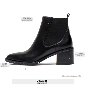 Image 4 - 2020 Latest Rivet Chelsea Boot Women Ankle Boots Winter Booties Genuine Leather Womens High Square Heel Shoes Female Footwear