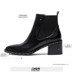 Image 4 - 2020 neueste Niet Chelsea Boot Frauen Stiefeletten Winter Booties Aus Echtem Leder frauen Hohe Quadratische Ferse Schuhe Weibliche Schuhe