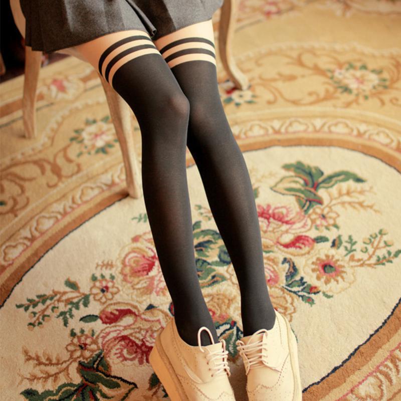 Buy 2017 Sexy Stockings Medias Knee Socks Women Thigh Highs Stocking Female Pantyhose Top Knee Long Socks 9176