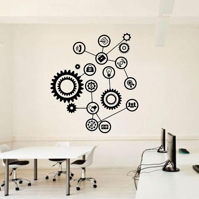 Gear Mechanism Engineering Wall Vinyl Decal Sticker Teamwork Office Interior Home Art Decor Wallpaper LZ35