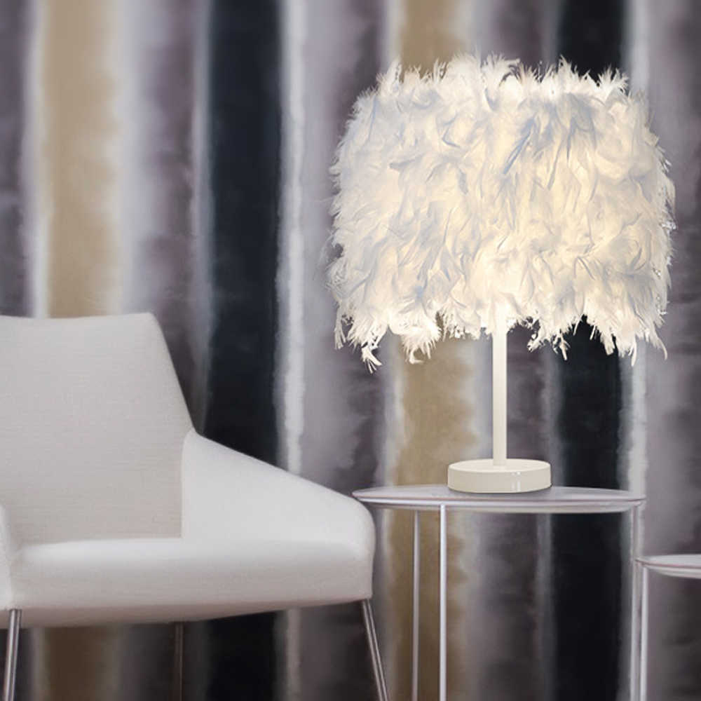IVYSHION E27 White Feather Table Lamp Metal Light Romantic Dreamlike Feather Table Light UK/EU/US Plug Height 38cm Lamp Table