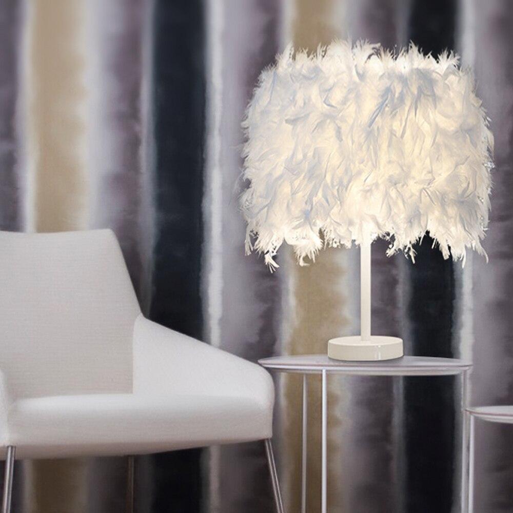 Fast Deliver Ivyshion E27 White Feather Table Lamp Metal Light Romantic Dreamlike Feather Table Light Uk/eu/us Plug Height 38cm Lamp Table Led Table Lamps