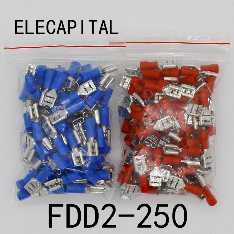 цена на FDD2-250 Female Insulated Electrical Crimp Terminal for 1.5-2.5mm2 Connectors Cable Wire Connector 100PCS/Pack FDD2.5-250 FDD