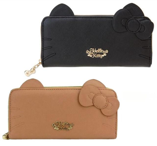57d39de7a Fashion Cute Cartoon Hello Kitty Ears PU Leather Woman Long Wallet Ladies  Purse Black Brown Money Bag