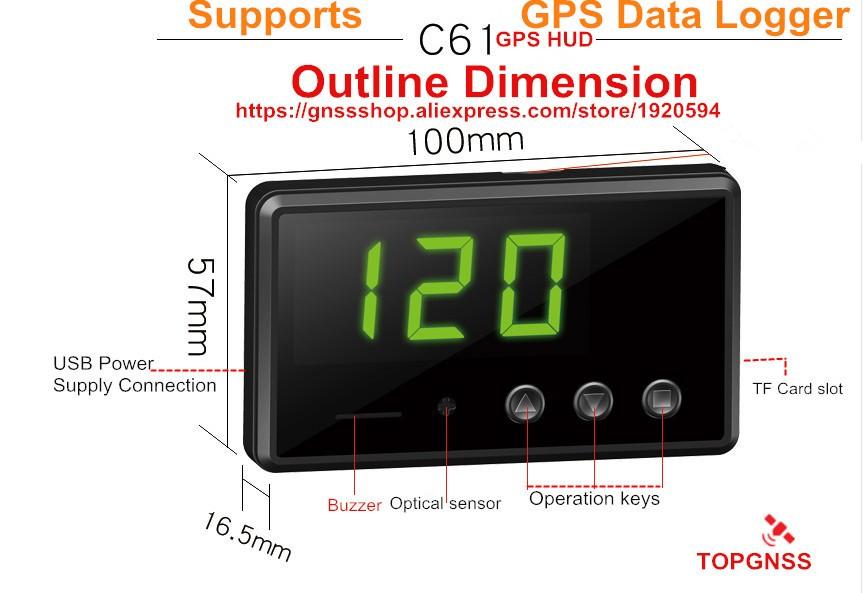 STOTON c61 GPS HUD Supports GPS data logger