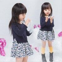 Children Wear New Spring Girls Floral Dress Kids Clothing Print Dark Blue Cotton