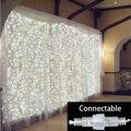 3 M x 3 M Conectable al aire libre LLEVÓ Luces de la Secuencia de hadas de la Navidad de la boda guirnalda de Navidad Fiesta de jardín Decoración de la Cortina a prueba de agua