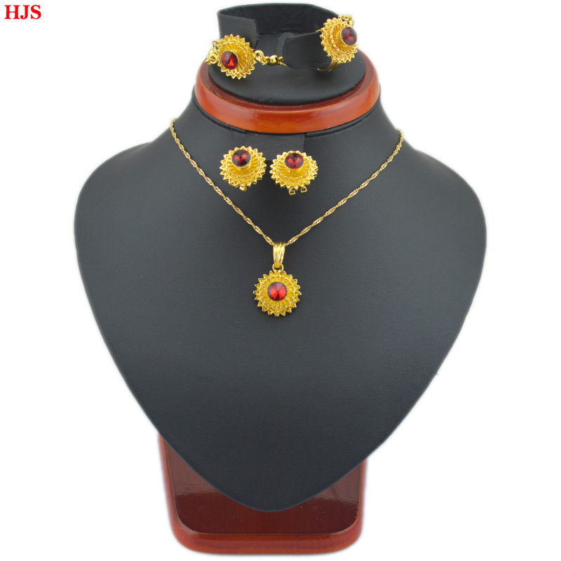 Ethiopian jewelry sets 24k Gold plated rhinestone bracelet earrings ring pendant chain jewelry sets