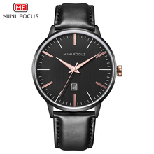 MINI FOCUS Brand Men's Watches Black Analog Quartz Watch Men Waterproof Leather Strap Calendar Wrist Watch For Men Luxury Casual все цены