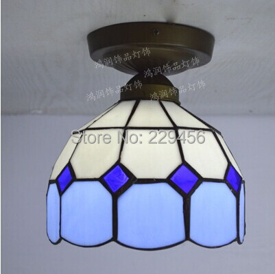 Tiffany Ceiling Light Stained Glass Lampshade Mediterranean Sea Style Dining Room Lighting E27 110 240V