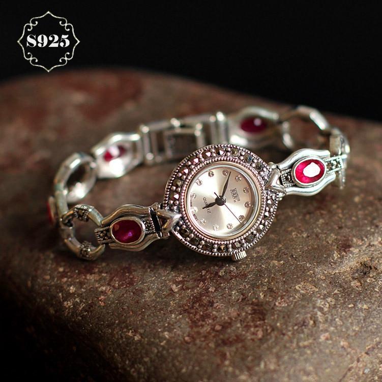 Limited Edition S925 Pure Silver Watch Ruby-Corundum Classical Lady Thai Silver Bracelet Thailand Process Rhinestone Bangle