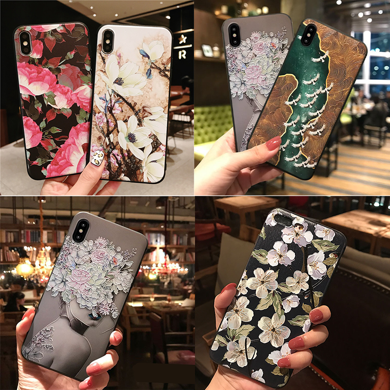3D Emboss กรณีดอกไม้สำหรับ Samsung Galaxy S10e S8 S9 S10 A8 A6 Plus A7 A9 2018 A3 A5 2017 2016 S7 Edge A30 A50 A70 M10 TPU Cover