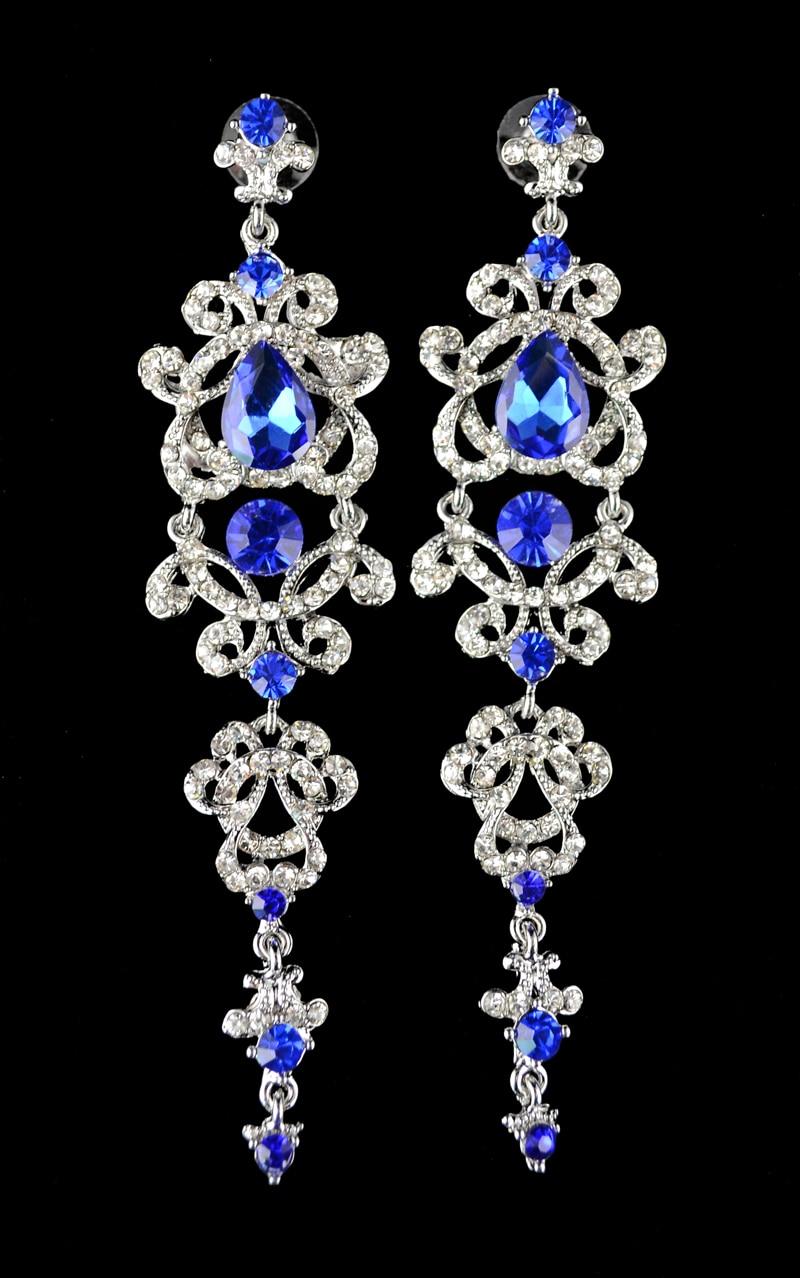 Women's Fashion Luxury Rhinestone Crystal Flower Bridal Silver Chandelier Drop Earrings For Wedding Big Long Earrings Jewelry