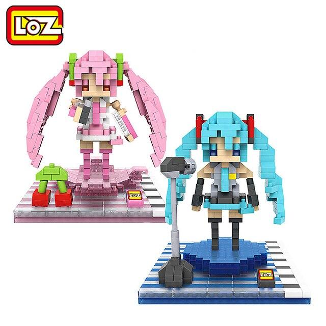 LOZ Cosplay Hatsune Miku Hatsune Miku Figura Brinquedo Modelo 3D Brinquedos de Montagem de Blocos de Construção de Diamante 14 + Gift