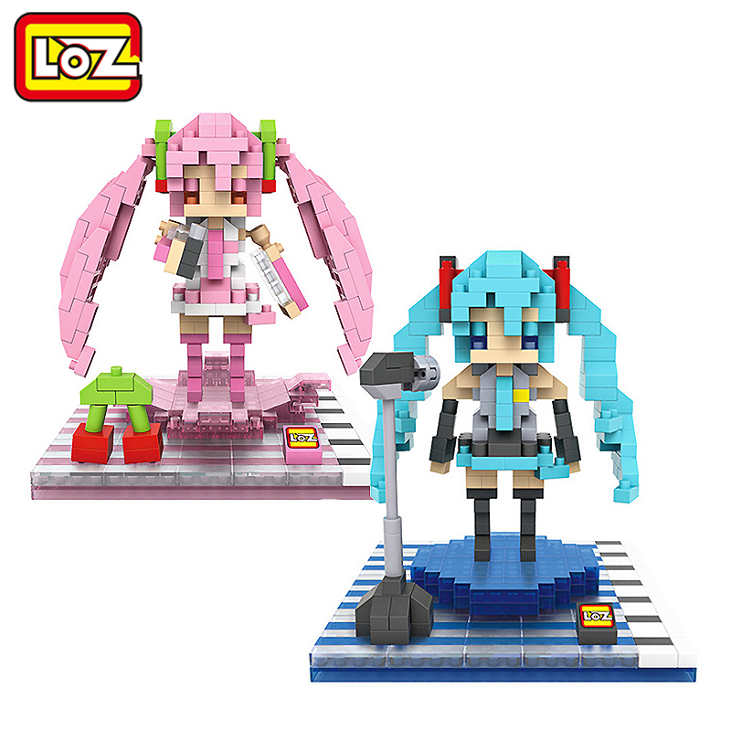 LOZ Hatsune Miku Figure Toy 3D Model Hatsune Miku Cosplay Assembly Toys Diamond Building Blocks 14+ Gift free shipping new cosplay pretty hatsune miku water blue miku cos wigs
