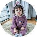 2016 Macacão de Bebê de Inverno de Espessura pato Quente Roupa Do Bebê Manga Longa Com Capuz Romper Do Bebê Menina Uma Peças de Roupas Macacões Infantil