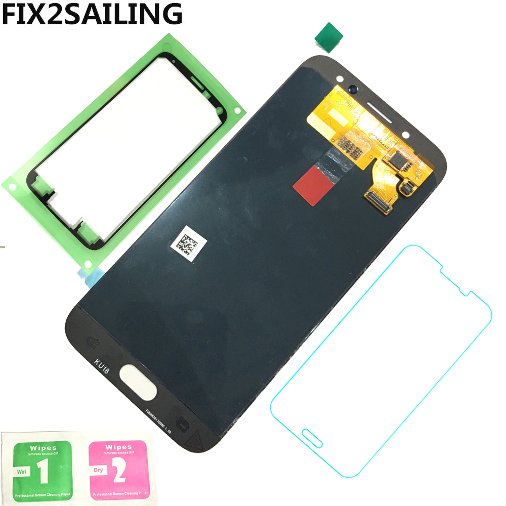 Super AMOLED LCD Display 100% Tested Working Touch Screen Assembly For Samsung Galaxy <font><b>J7</b></font> Pro 2017 J730 J730F Tempered Glass