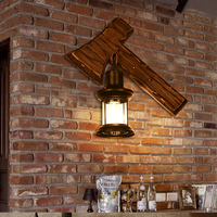 Твердой древесины Ретро творческий настенный светильник Лофт украшения Nordic личность кафе ресторан коридор бар настенный AX керосин lu721191
