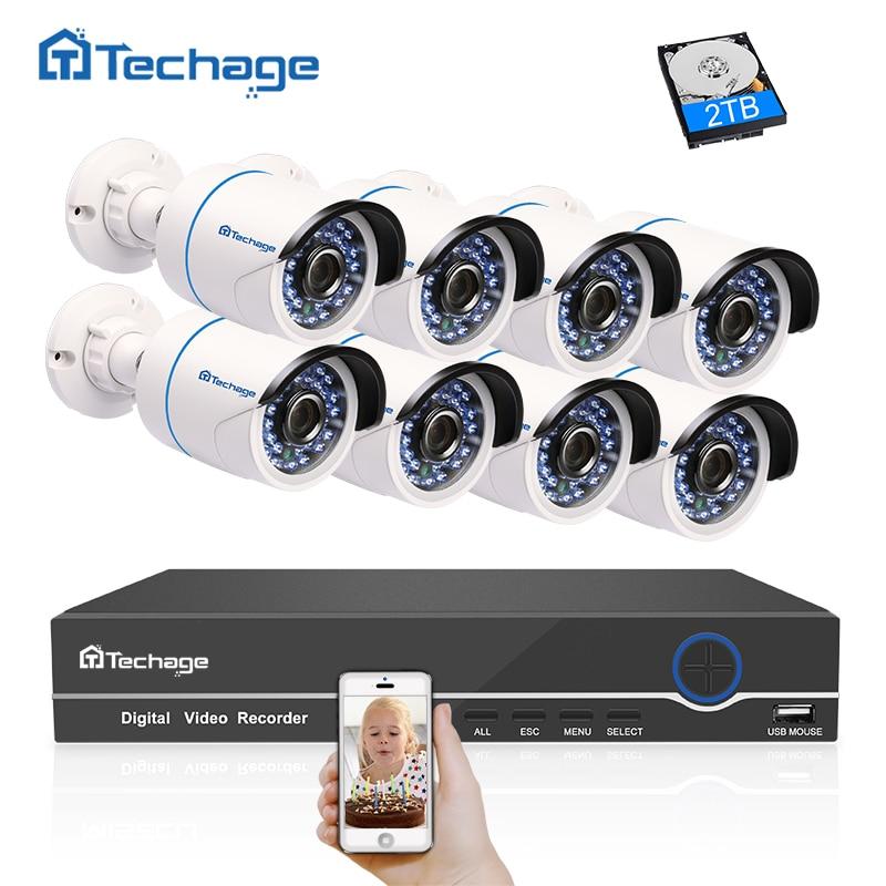 Techage 8CH 1080 p HD CCTV Système POE NVR Kit 2MP Sécurité Imperméable À L'eau Extérieure POE IP Caméra P2P Onvif Vidéo kit de Surveillance