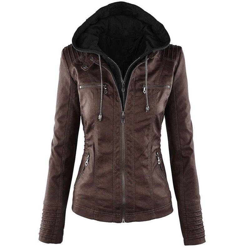 XS-7XL Plus Size   Leather   Jacket Coats Women Fashion Long Sleeve Zipper Hooed Jackets Windproof Coats Female 2019 Winter Tops