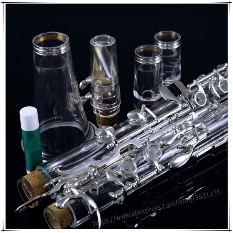 Professional Acrylic Transparent Body Silver Plated 18 Keys 4 Rings G Tone Clarinet