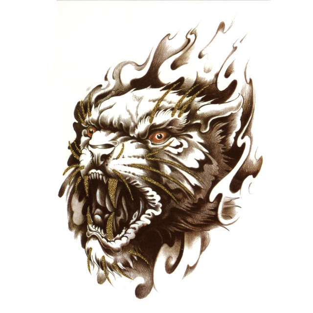 3pcs golden wild beast waterproof temporary tattoos men devil animal henna tattoo sticker arm taoo temporary