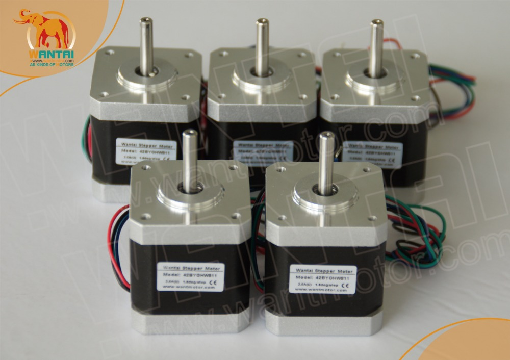 ФОТО (EU Free, No Tax)Super Wantai 5 PCS, Nema 17 Stepper Motor 4800g.cm,2.5A, (CE,ROSH)42BYGHW811, CNC Robot 3D, I3Reprap Printer