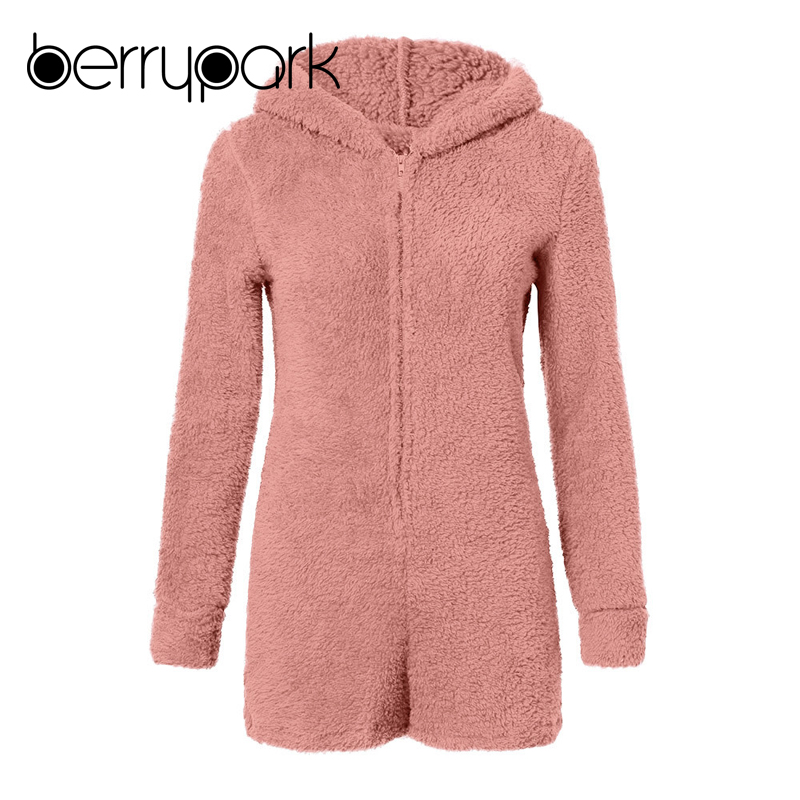 Warm Coral Fleece bear Hooded Jumpsuit 4