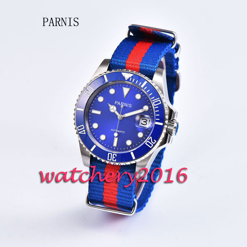 New 40mm parnis 블루 다이얼 세라믹 베젤 축광 날짜 사파이어 miyota 자동식 비즈니스 남성용 시계-에서기계식 시계부터 시계 의  그룹 1