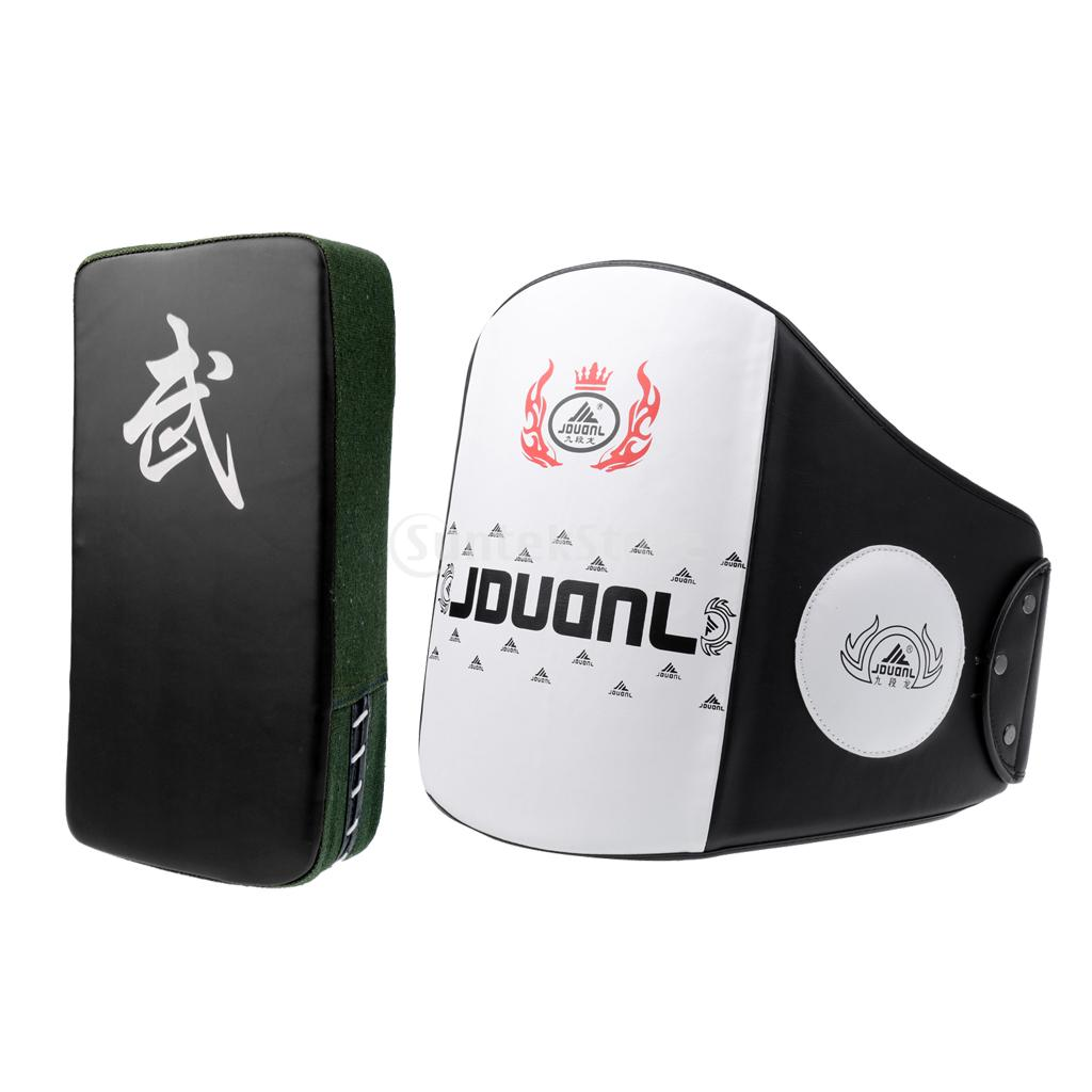 Boxing Muay Thai Training Waist Chest Guard MMA Protector Belt + Boxing Strike Focus Pad Punch Kicking Pad Arm Shield high quality boxing training gloves head protect protector hemlet punch pad focus mitt muaythai muay combination
