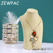 JEWPAC 20cm Jute Jewelry Display Organizer Stand Packaging for Necklace Shelf Bust